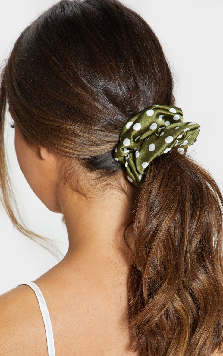 Green Polka Dotted Satin Scrunchie 1