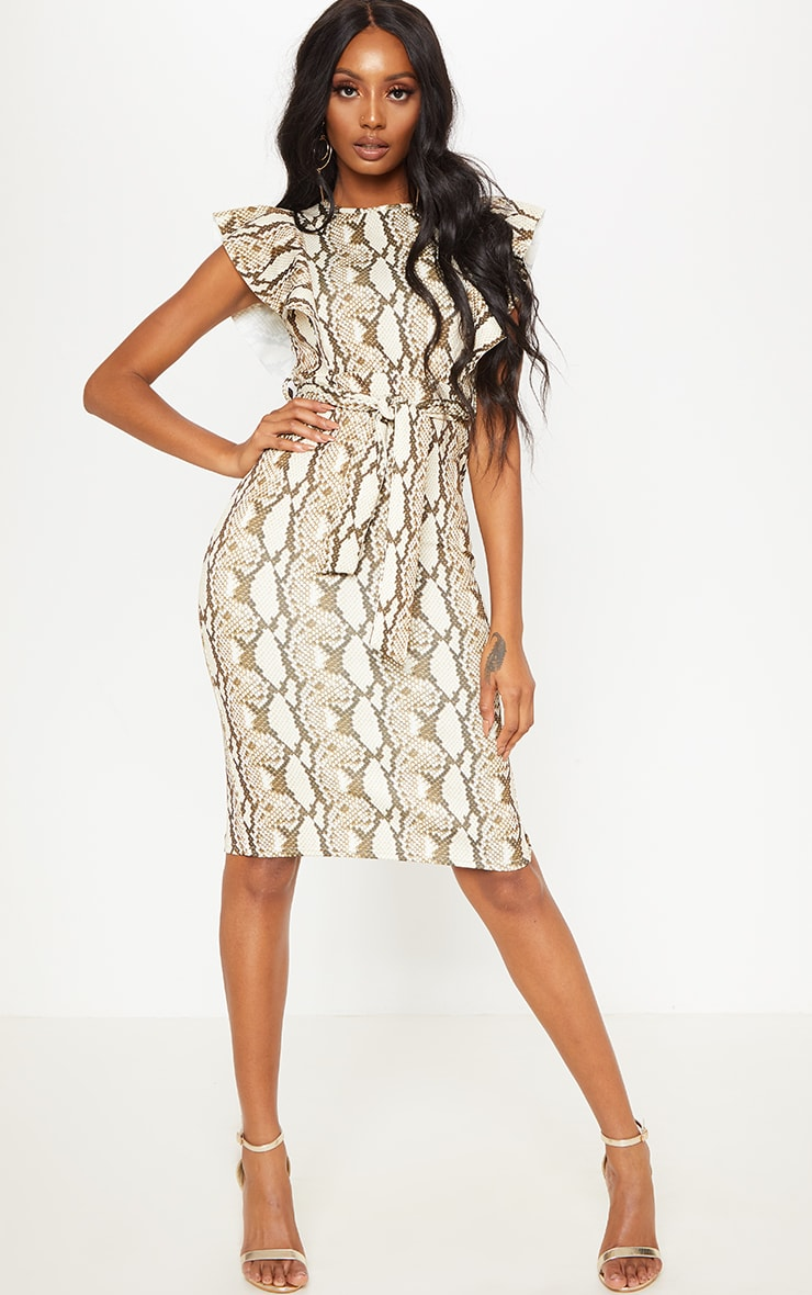 Stone Snake Print Frill Detail Midi Dress