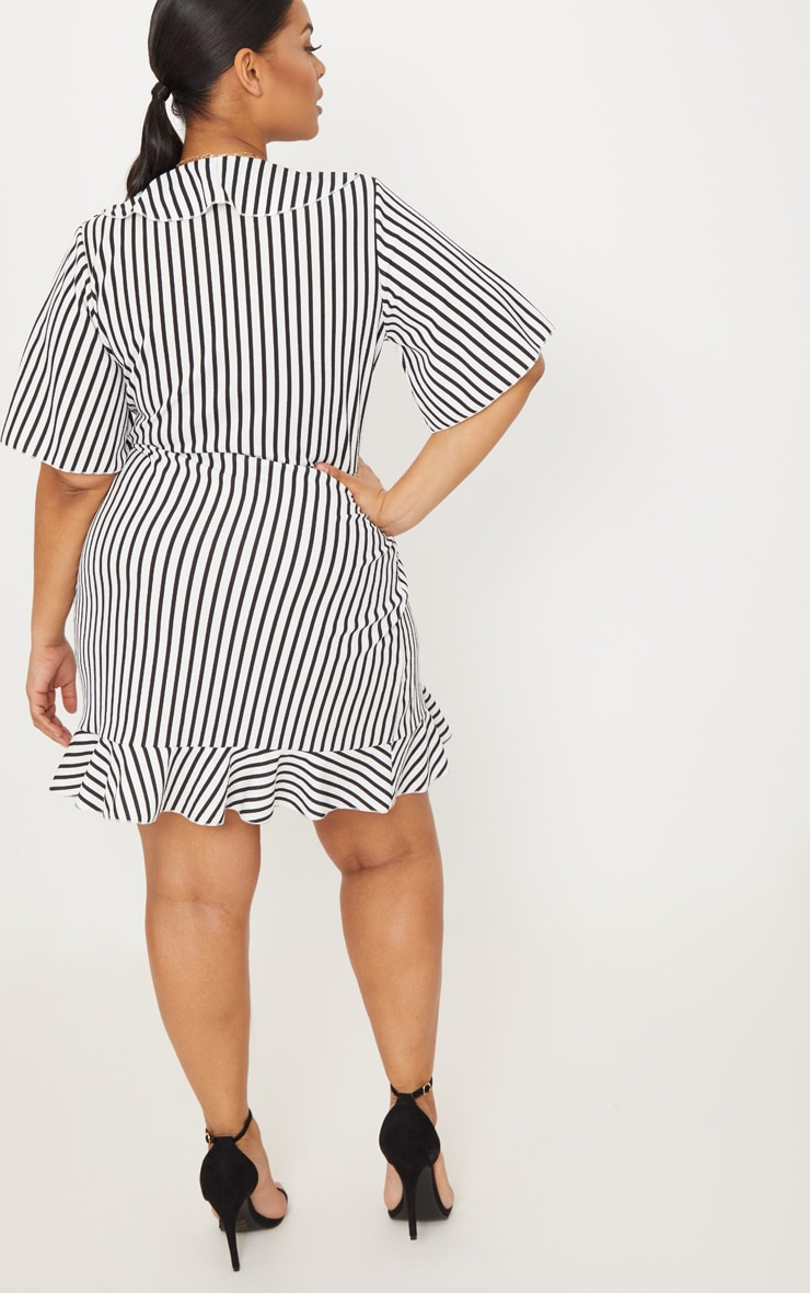 Plus White Striped Frill Detail Wrap Dress 2