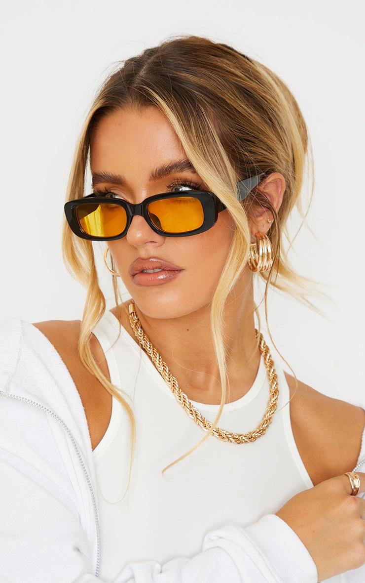 Black Chunky Colour Lens Square Frame Sunglasses 1