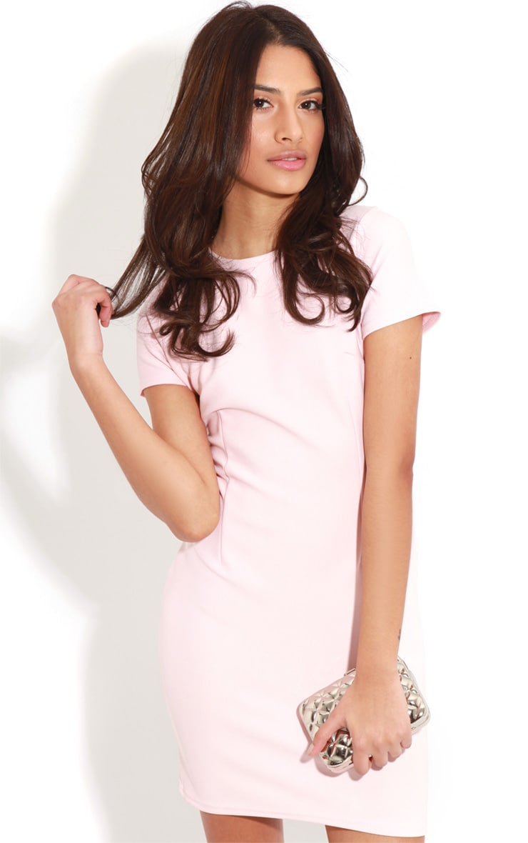 Lillie Dusty Pink Ribbed Bodycon Mini Dress 1
