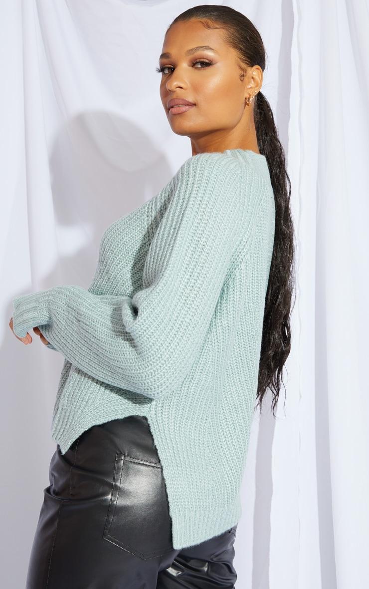 Mint Soft Knit Balloon Sleeve Funnel Neck Sweater 2