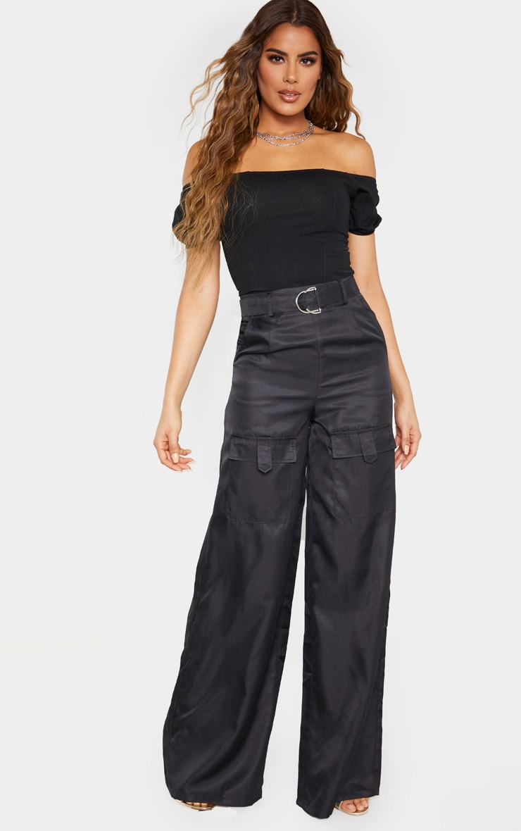 Tall Black Belted Cargo Wide Leg Trouser  1