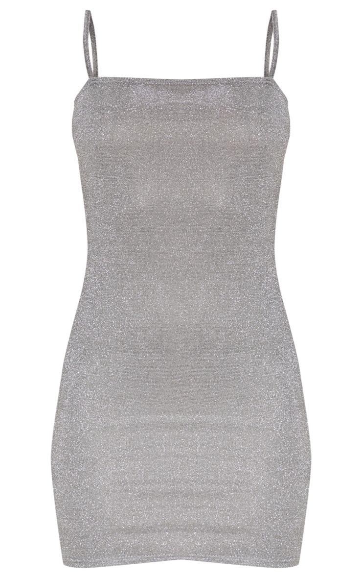 Silver Glitter Strappy Square Neck Bodycon Dress 3