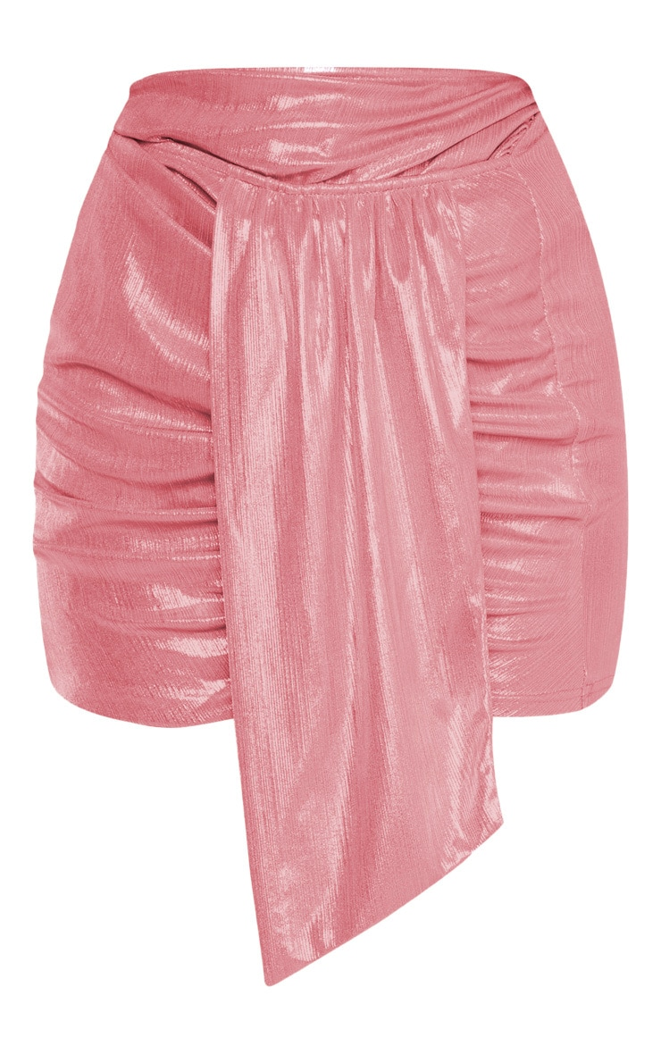 Pink Metallic Ruched Mini Skirt 3