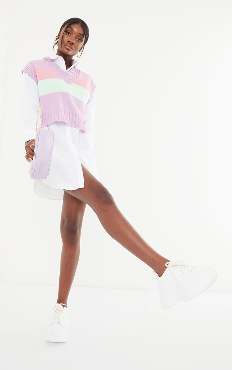 Tall Pastel Striped Cropped Vest 3