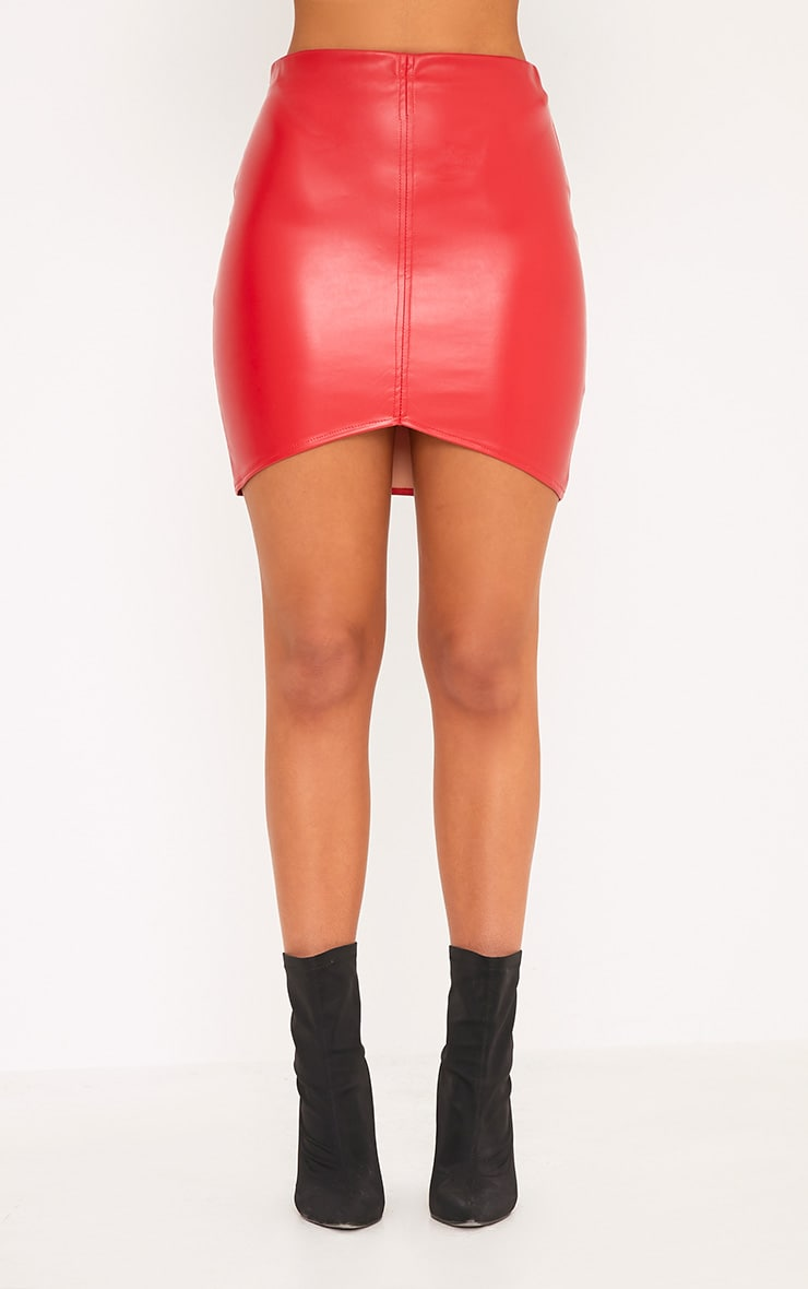 Bekka Red Faux Leather Asymmetric Panel Mini Skirt 2