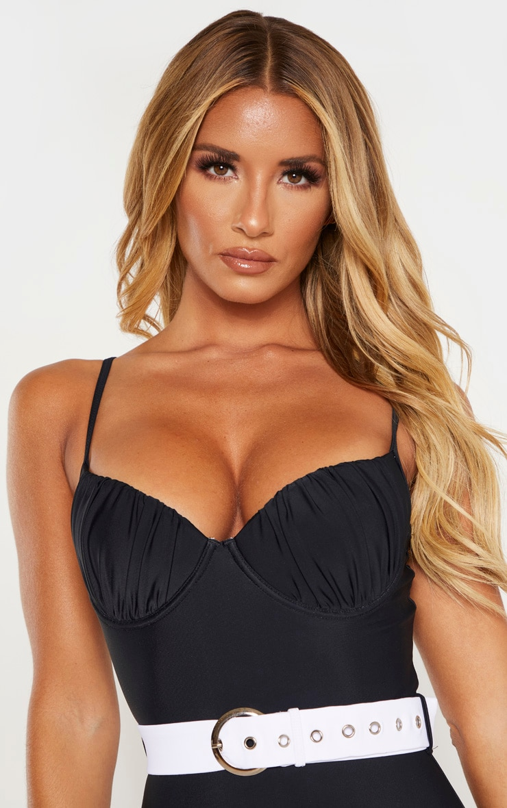 Black Ruched Cup Contrast Belted Swimsuit 5