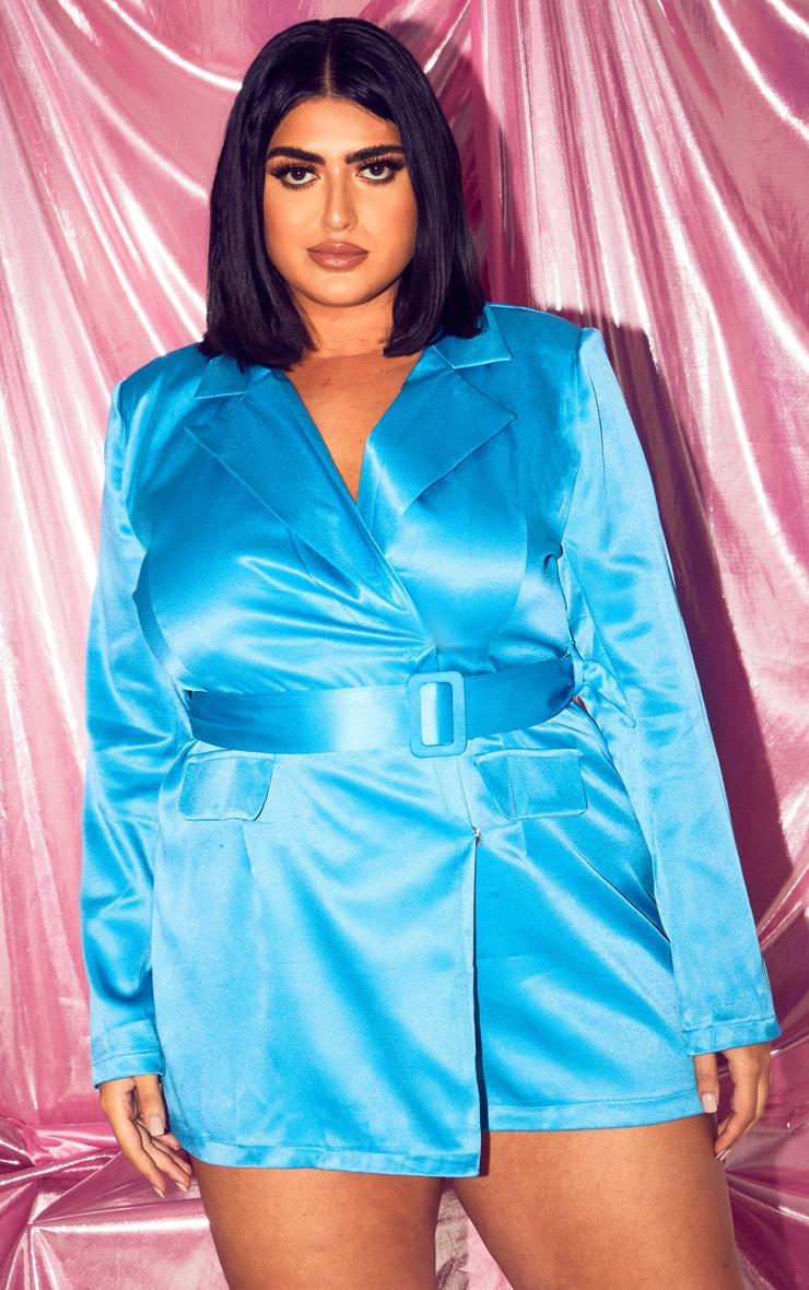 PLT Plus - Combishort blazer turquoise à poches 1