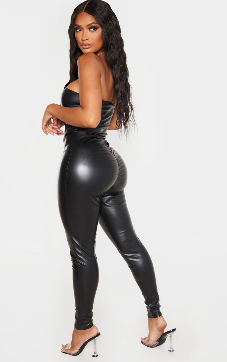 Shape Black PU Bandeau Jumpsuit 2