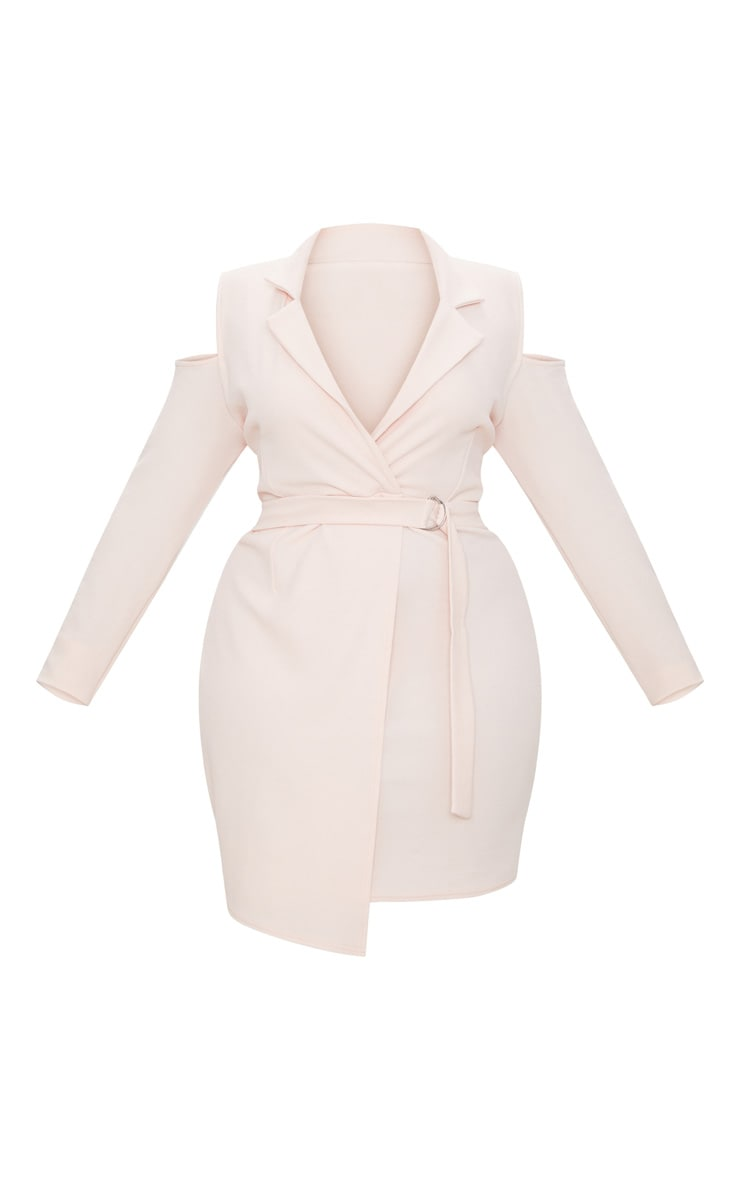 Plus Nude Cold Shoulder Ring Detail Blazer Dress 3
