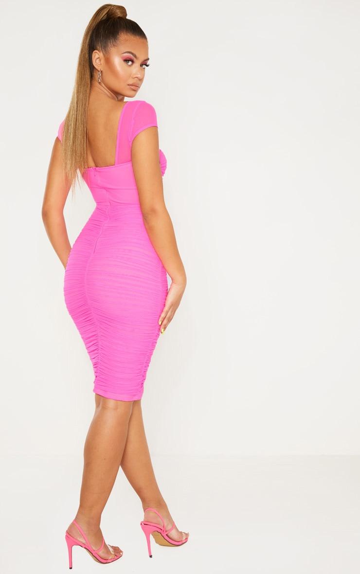 Hot Pink Mesh Ruched Midi Dress 2