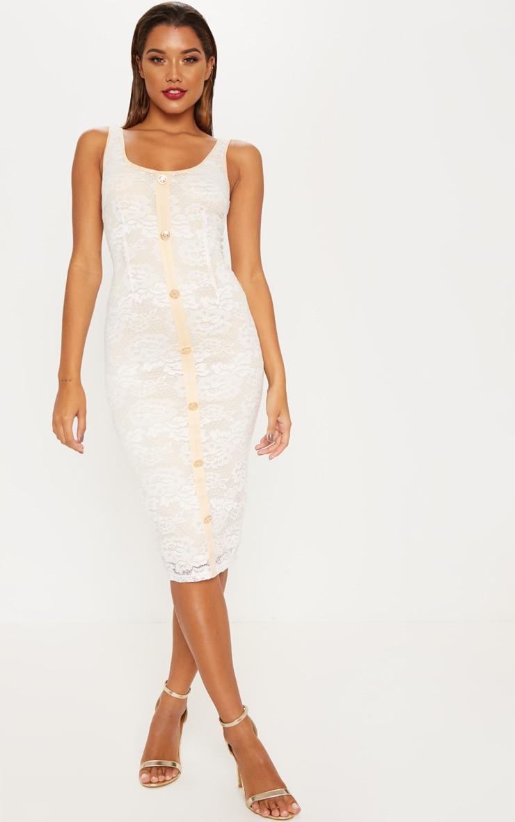 637621838720 White Lace Gold Button Binding Midi Dress image 1