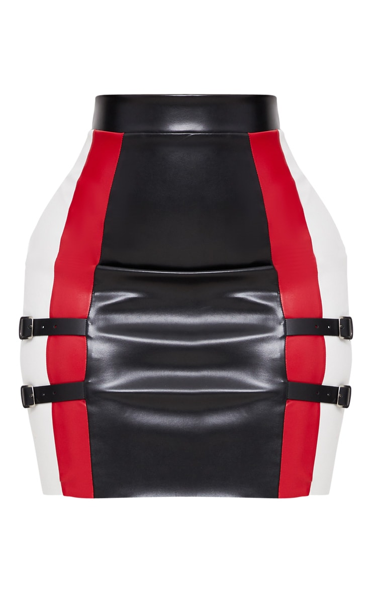 Shape Red PU Panel Buckle Detail Bodycon Skirt 3