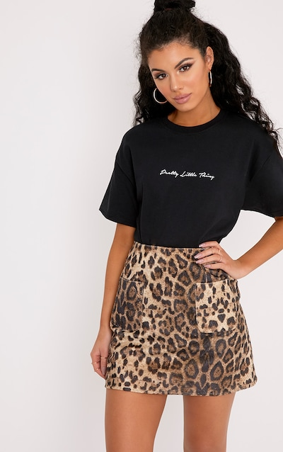 Black Rib Knit Crop T Shirt Pretty Little Thing Clearance Discount Best Place Online O8PXO