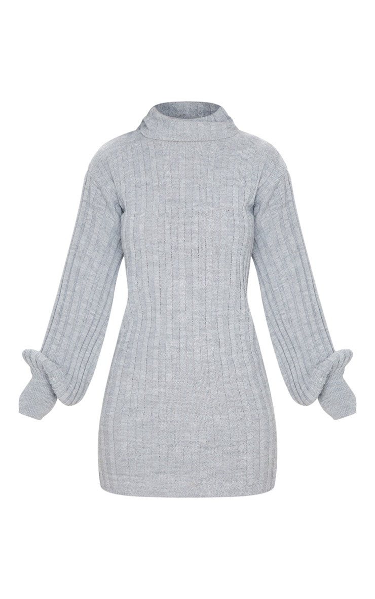 Grey Roll Neck Ribbed Knitted Sweater Dress 5