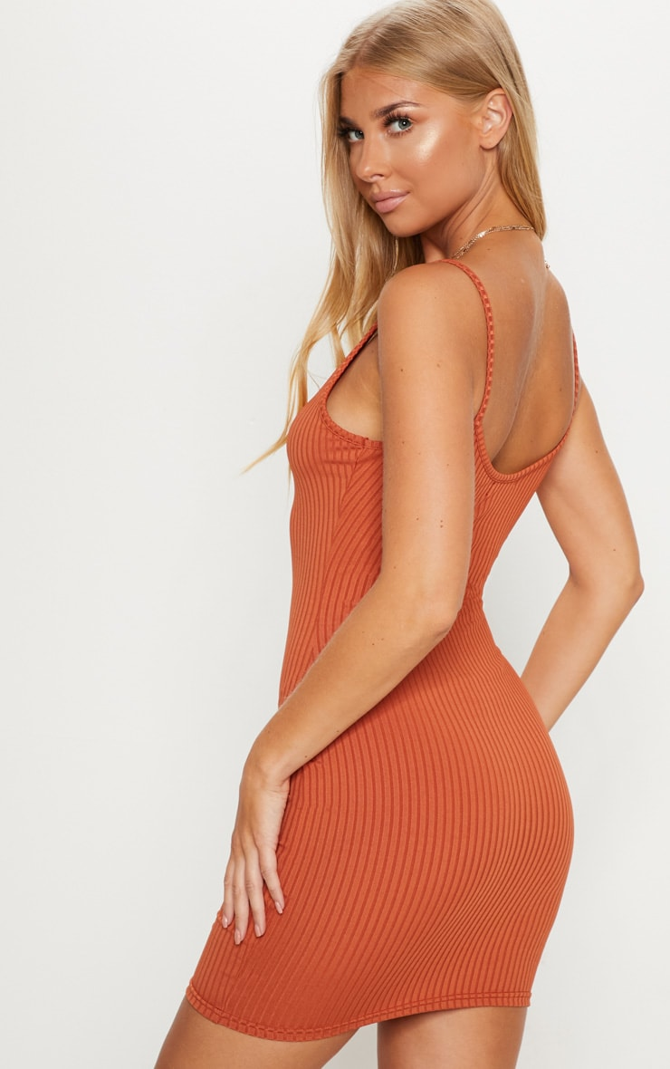 Burnt Orange Rib Plunge Strappy Bodycon Dress 2