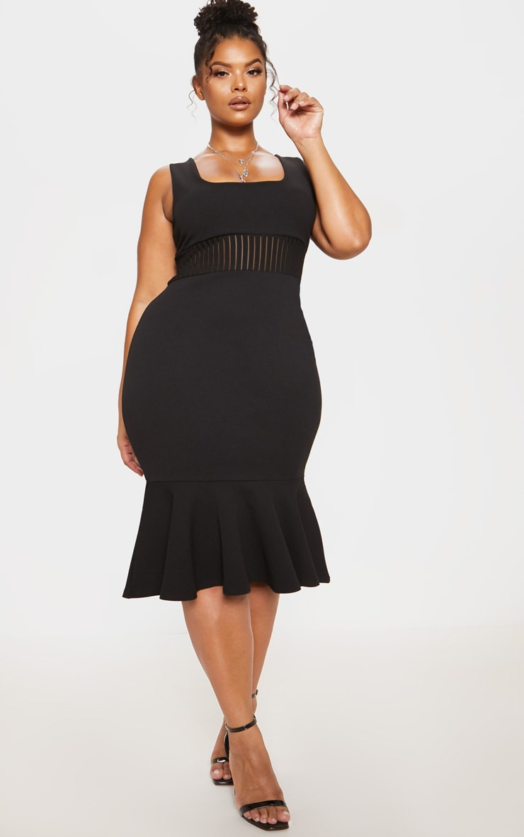 Black Stripe Mesh Panel Midi Dress