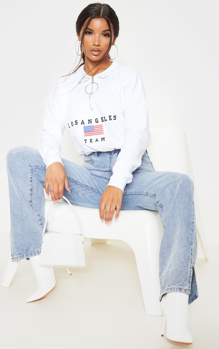 White Los Angeles Embroidered USA Zip Sweater 4