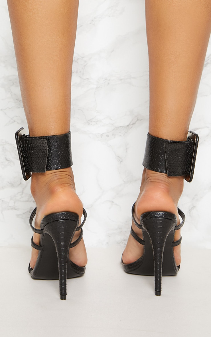 Black Cuff Detail Strappy Heeled Sandal 4