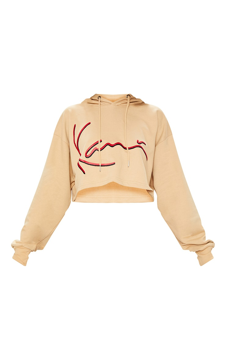 KARL KANI Camel Embroidered Crop Hoodie 4