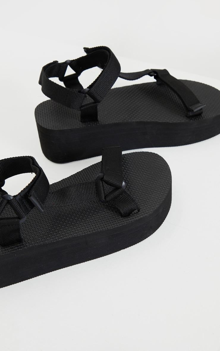 Black Sports Flatform Sandals 3