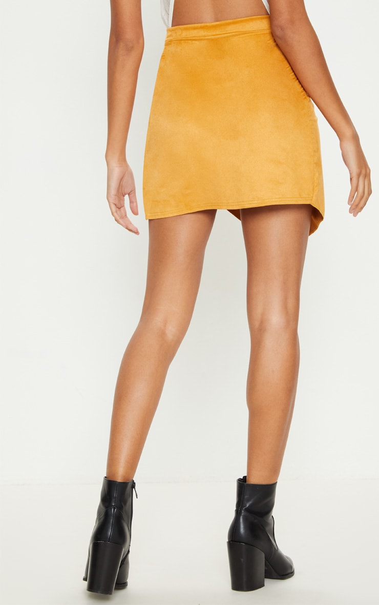 Yellow Faux Suede Wrap Over Mini Skirt 4