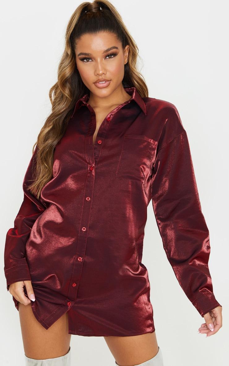 Red Metallic Shirt Dress 1