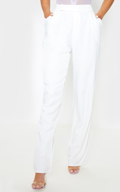 White Woven Pleat Detail Straight Leg Trouser