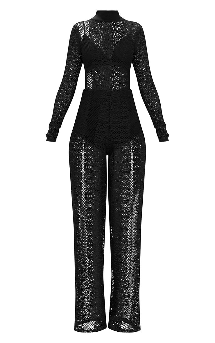 Black Lace High Neck Bra Insert Jumpsuit 3
