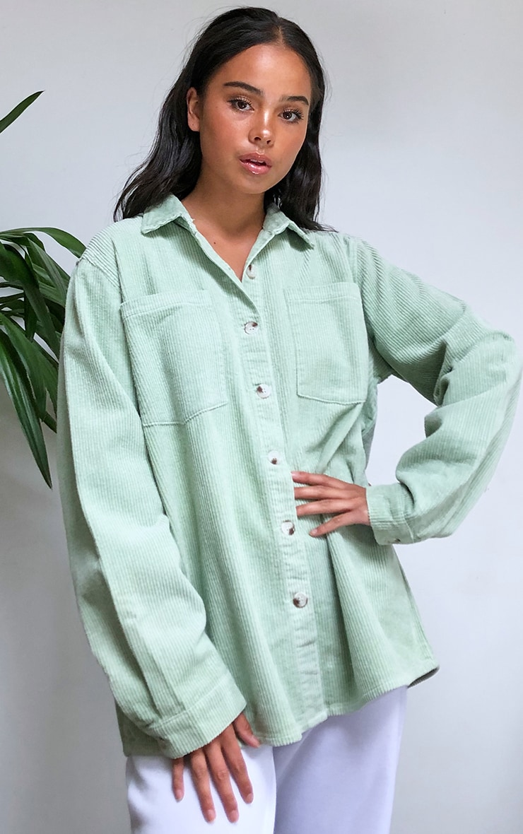 Mint Jumbo Cord Long Sleeve Denim Shirt 1