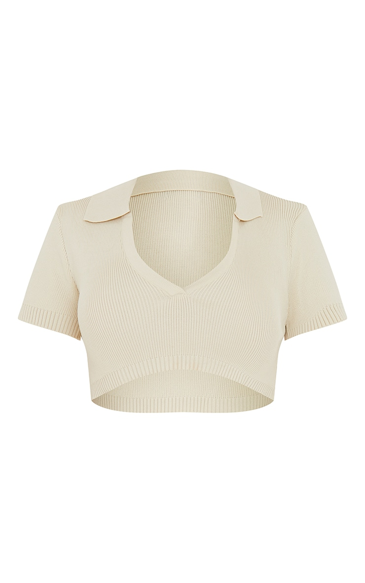 Cream Collared Super Cropped Knitted Short Sleeve Top 5