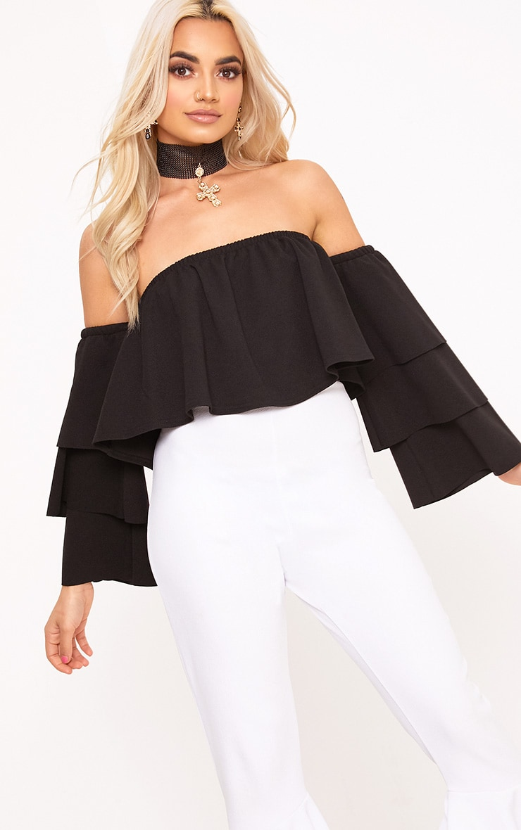 Black Bardot Layered Frill Sleeve Crop Top 1
