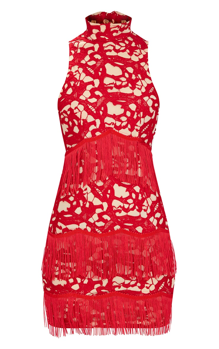 Red Lace Sleeveless Tassel Detail Bodycon Dress  3