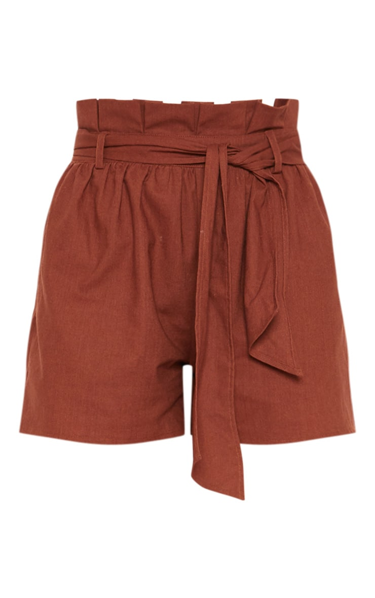 Tall Chocolate Brown Paperbag Tie Waist Shorts 3