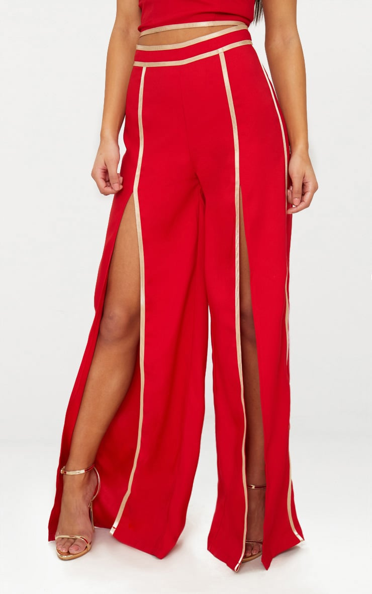 Red Contrast Binding Split Front Wide Leg Trouser 2