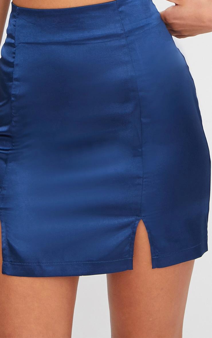 Navy Satin Double Split Mini Skirt 6