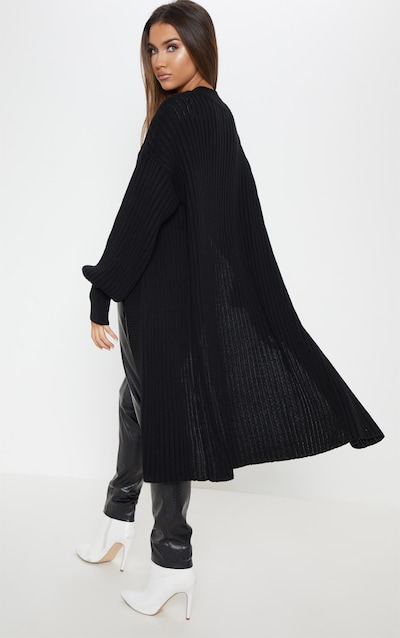 Black Ribbed Knitted Midi Cardigan