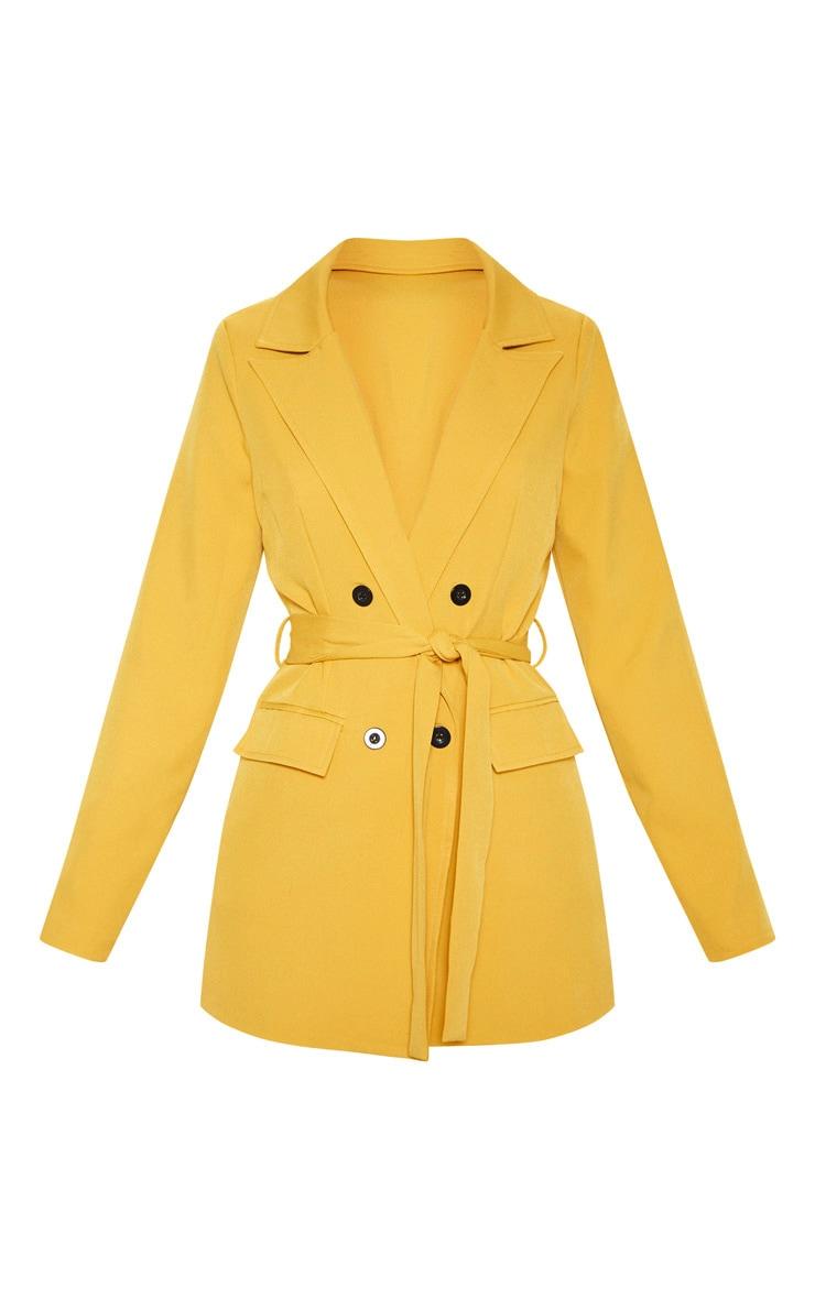 Mustard Belted Long Line Woven Blazer  3