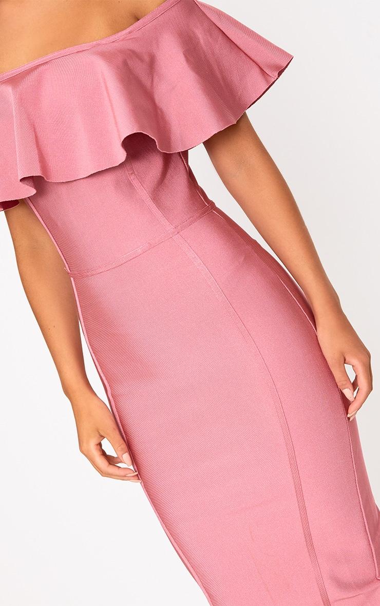 Rose Bandage Frill Bardot Midi Dress 4