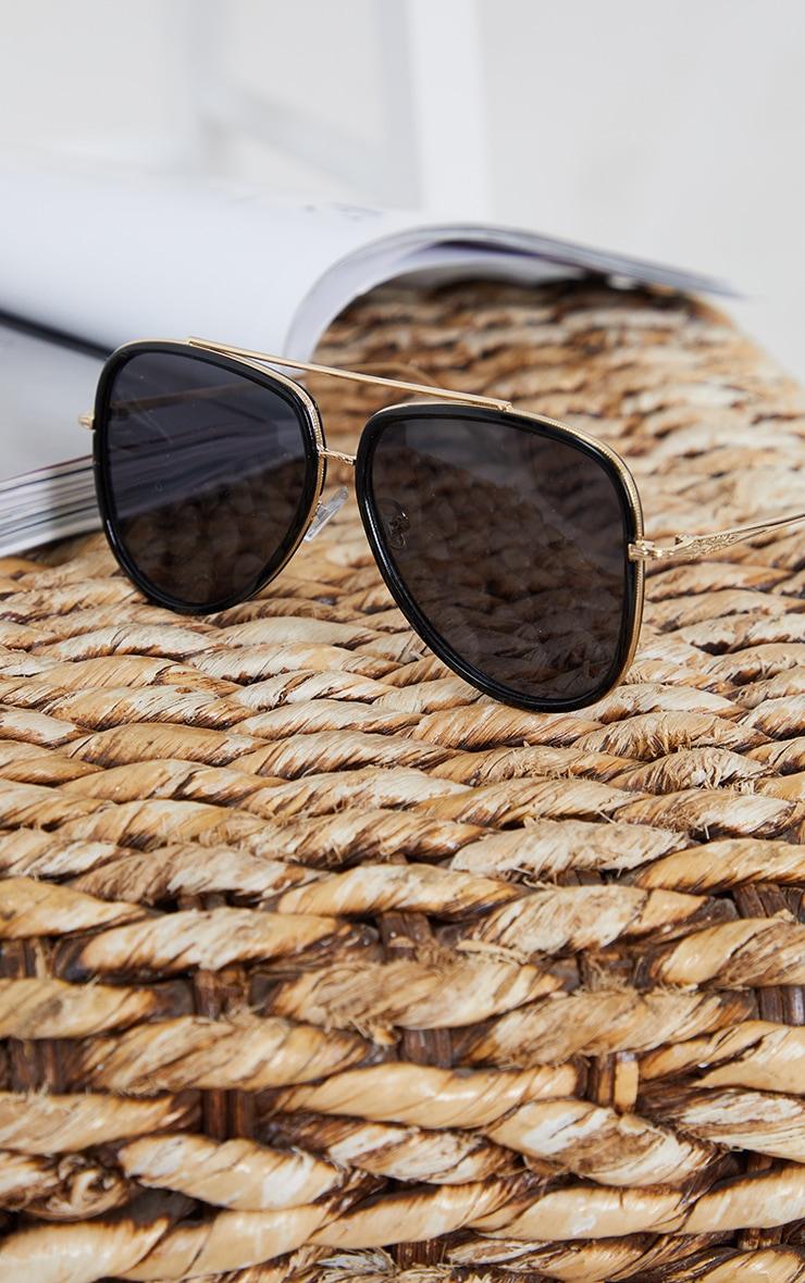 Black Oversized Gold Detail Aviator Sunglasses 2