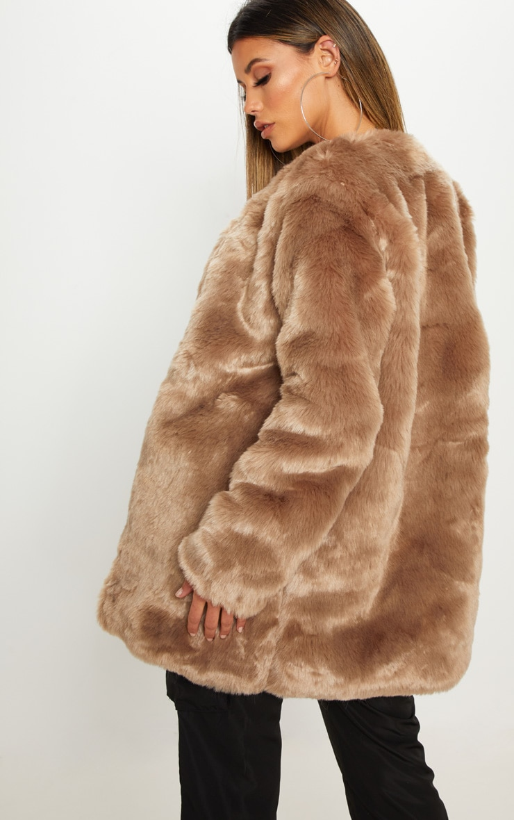Brown Midi Faux Fur Coat  2