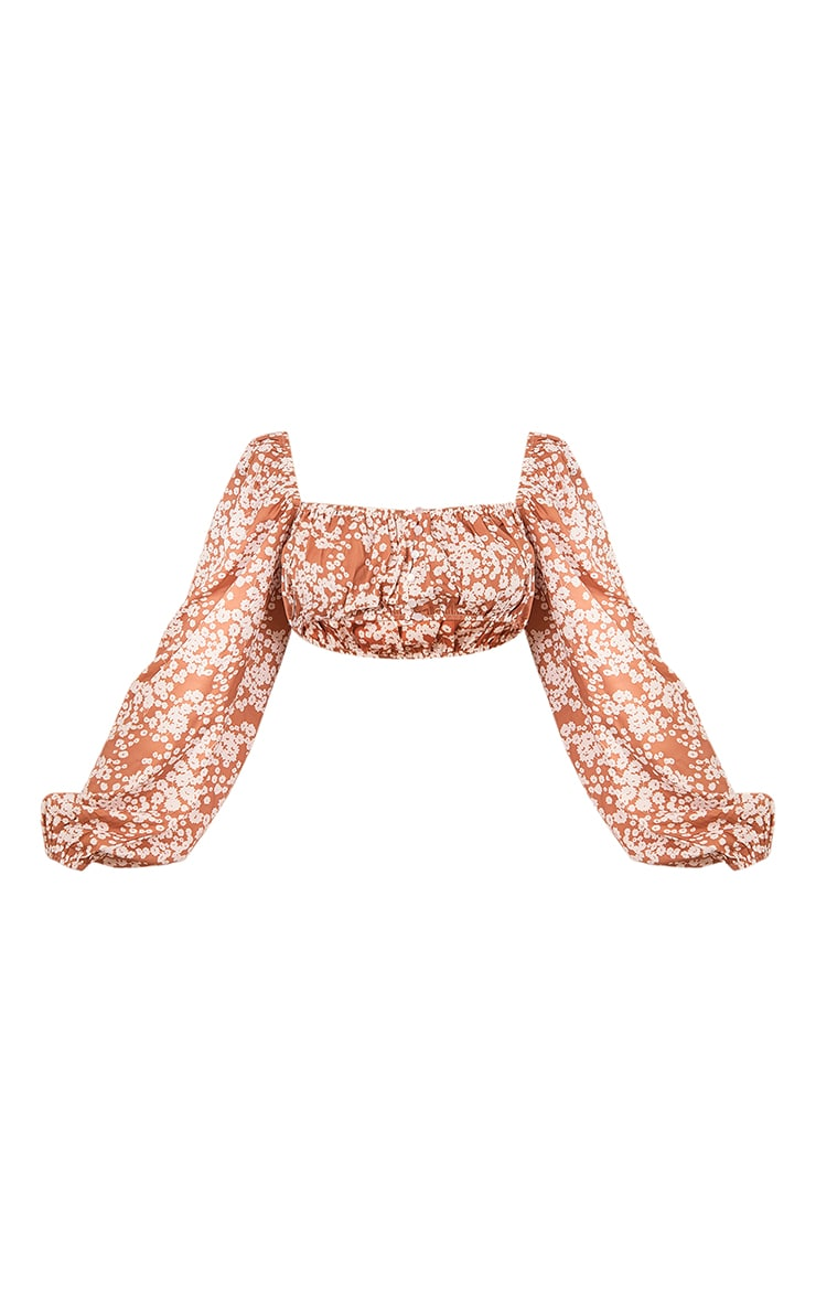 Orange Floral Printed Woven Balloon Sleeve Button Front Crop Top 5