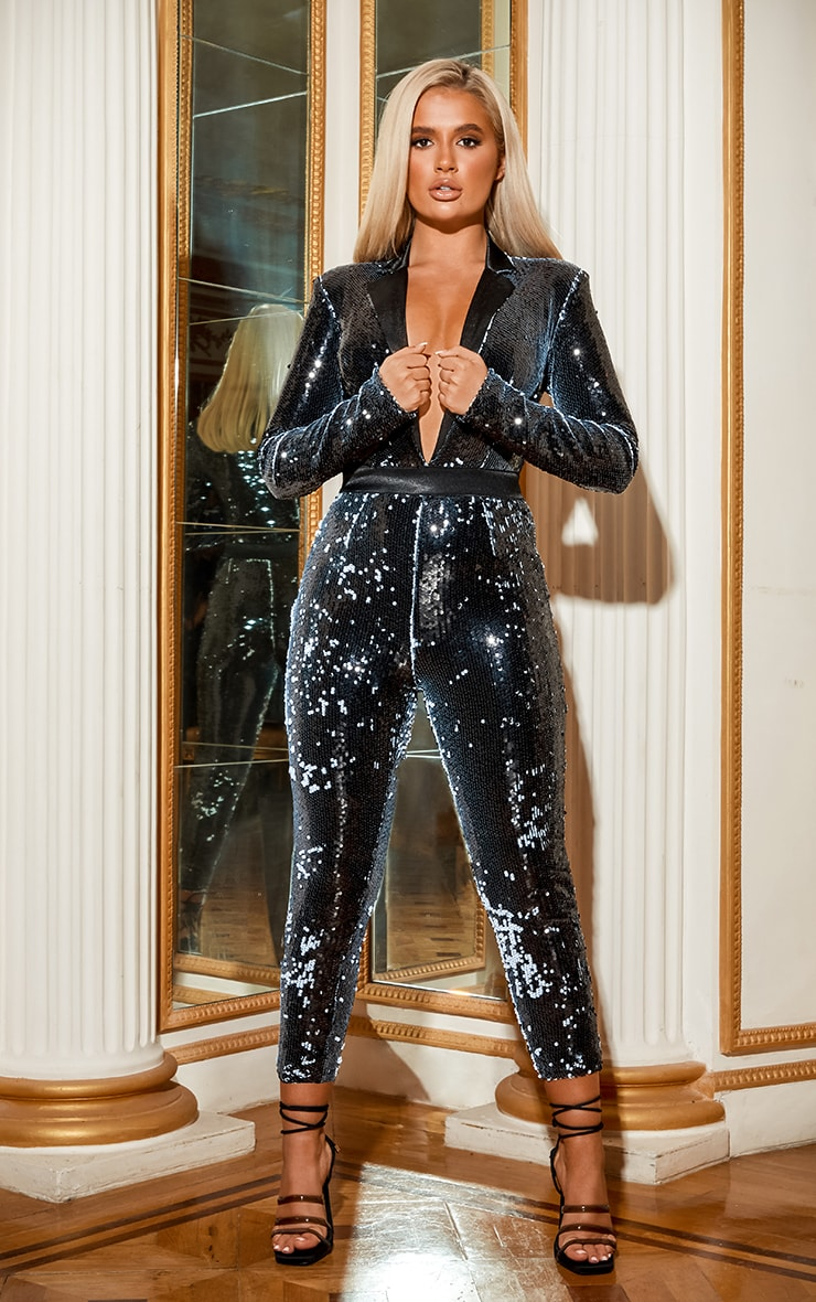 Black Plunge Front Tailored Sequin Jumpsuit