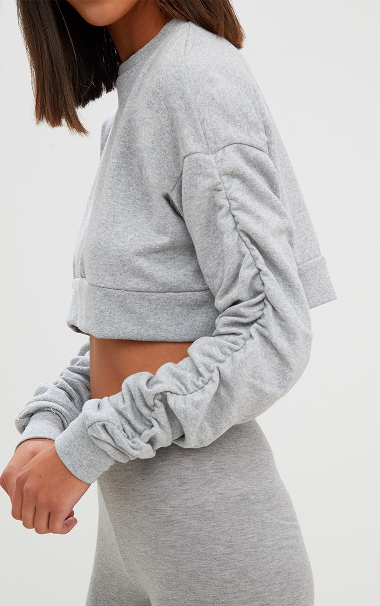 Grey Ruched Sleeve Oversized Cropped Sweater 4