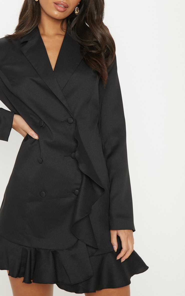 Black Frill Detail Blazer Dress 5