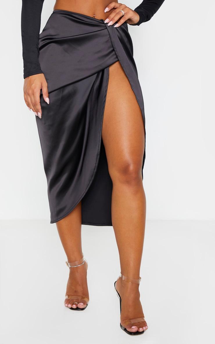 Black Satin Twist Front Midi Skirt 2