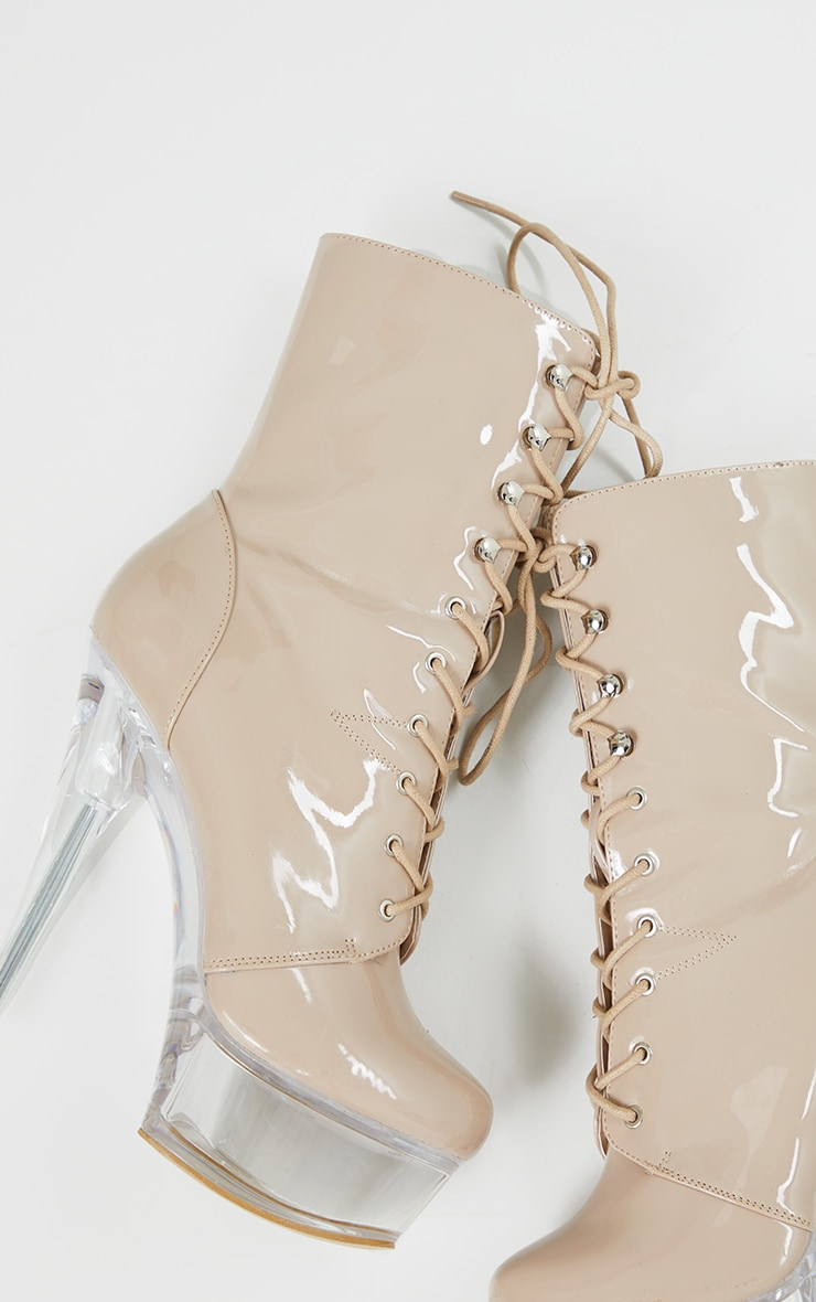Nude Patent Lace Up Extreme Platform Heeled Boot 4