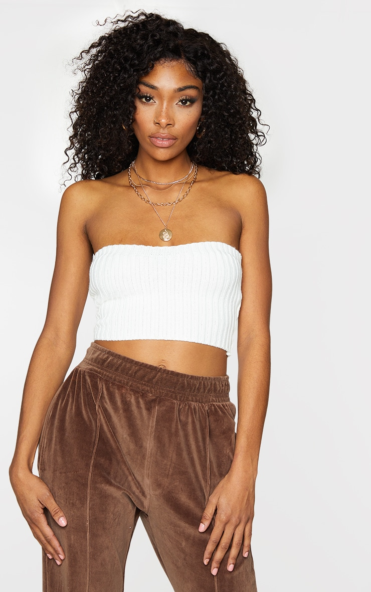 Cream Ribbed Knitted Bandeau Top 1