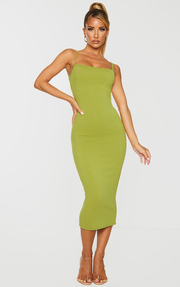 Olive Ribbed Double Tie Open Back Midi Dress 2